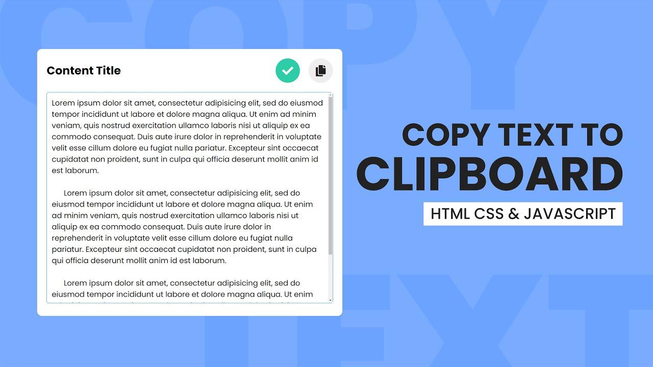 Copy Text Content To Clipboard   Textarea Copy Button - HTML CSS & Javascript