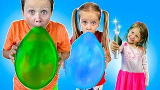 Дарья и Тимофей надувают шарики  Three kids   Funny stories with balls