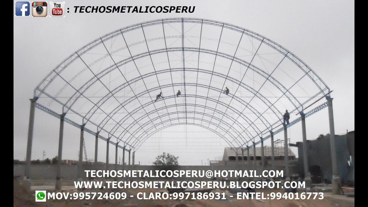 Techos parabolicos techos metalicos youtube for Como armar una estructura metalica para techo