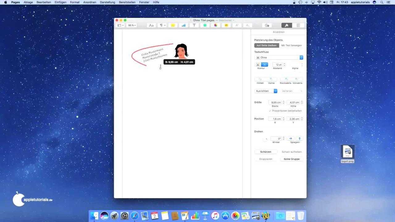 Iwork Für Mac Os Mit Pages Für Mac Einen Briefkopf Logo
