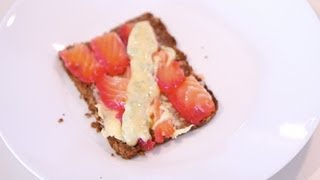 Gravlax cured with Beetroot on Rye Bread with Mustard, Dill and Lemon Sauce