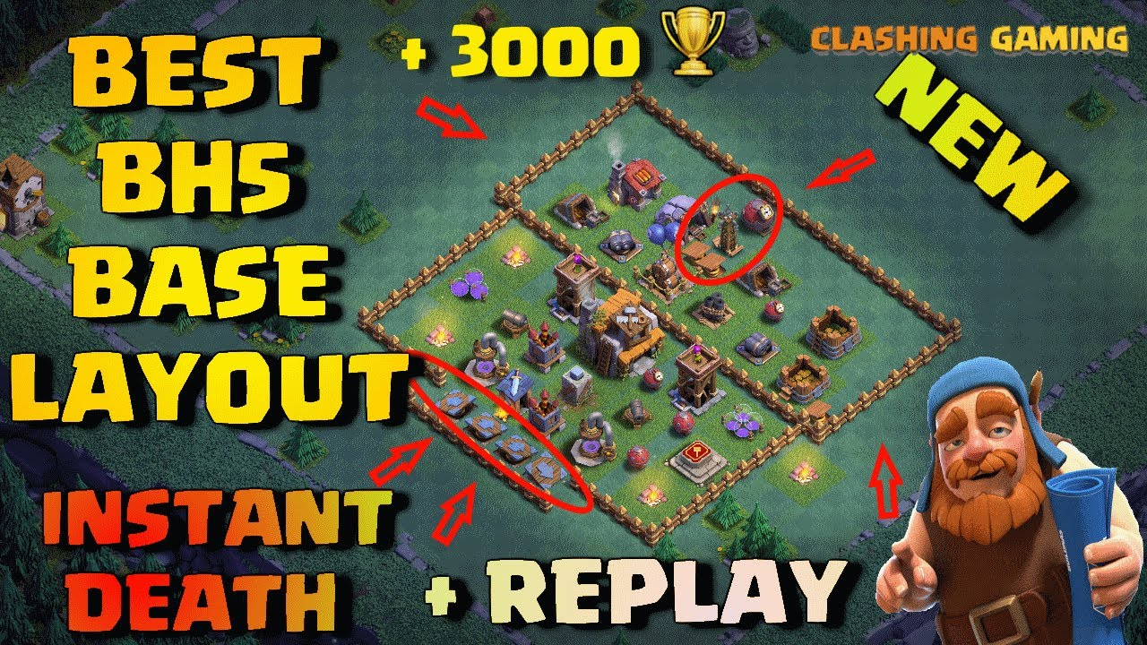 Best Builder Hall 5 Trophy Base Layout (BH5) INSTANT DEATH + Defense Replay  | Clash of Clans