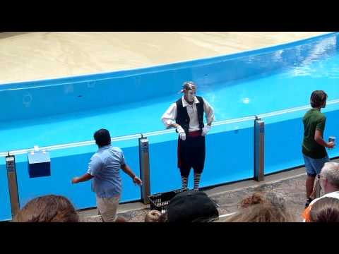 Mime Artist, Clyde and Seamore take Pirate Island, Seaworld, Florida Part One in HD
