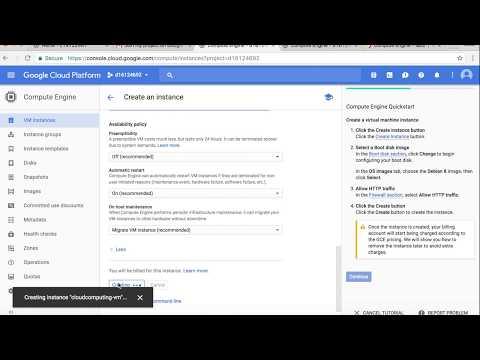 Create a virtual machine in Google Compute