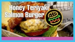 Halal Honey Teriyaki Salmon Burger, Turkey Burger Bleu at the Burger Bank