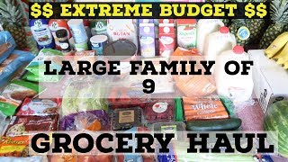 EXTREME BUDGET💲💲  | LARGE FAMILY OF 9 GROCERY HAUL💲💲