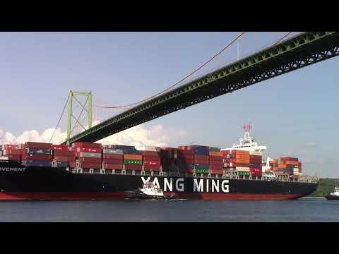 Container Ship YM MOVEMENT Inbound Halifax - Under MacKay Bridge (Aug 16, 2017)