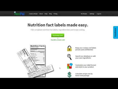 Create & Generate Nutrition Labels