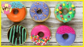 HOW TO MAKE DONUT COOKIES! Kids bake and decorate 3 styles of Cute rainbow doughnut biscuits