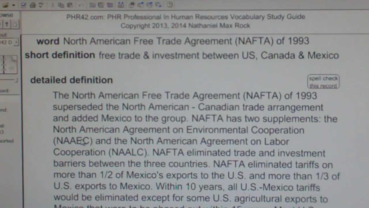 North American Free Trade Agreement Nafta Of 1993 Phr Sphr Hr