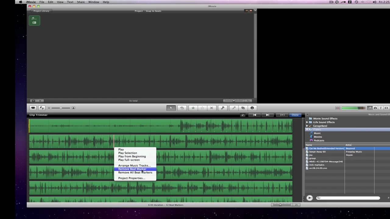 Imovie 09 Tutorial How To Add Beat Markers