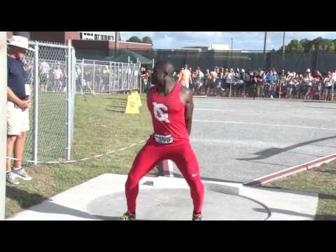 Cornell's Stephen Mozia in Men's Shot Put at 2015 NCAA East Prelims