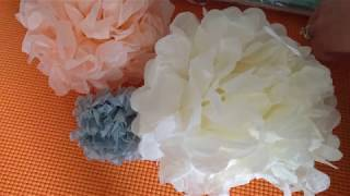 "Review & Tutorial : HEARTFEEL 10"", 8"" Tissue Paper Pom-poms (Cream Mint Peach) BALLOON RED 4"" (Gray)"