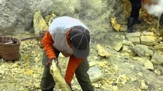 Sulphur mining @ Kawah IJen crater Java