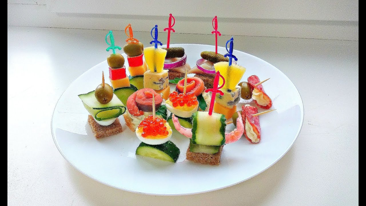 8 видов КАНАПЕ / Закуски на праздничный стол / Мини бутерброды на шпажках