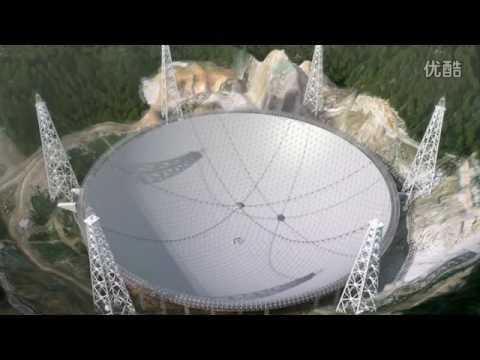 500m diameter radio telescope(FAST)animation 平塘射电望远镜施工动画