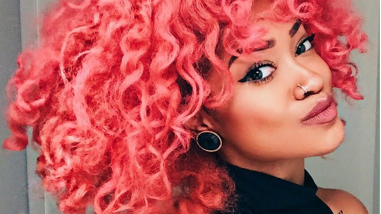 ' dying curly hair pink