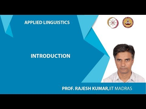 Lec 1: Introduction to Applied Linguistics