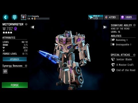 v2.0 is LIVE! Rank 3 Four Star MotorMaster! - Transformers: Forged to Fight