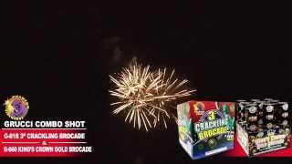 "G-818 3"" Crackling Brocade and G-660 Kings Crown Gold Brocade - Phantom Fireworks"