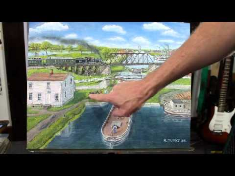 My Painting of Illinois & Michigan Canal - Lock 14 and 15 in LaSalle IL around 1900