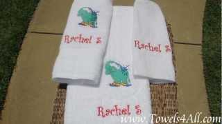 Personalized Embroidered Elephant Splashing Water Bath 3pcTowel Set Kids - video clip