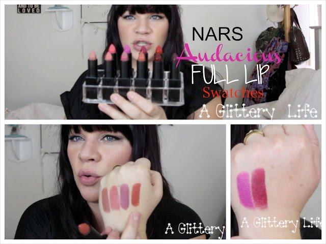 NARS AUDACIOUS LIPSTICK SWATCHES   10 more shades!  Barbara, Liv, Rita, Jane and more!