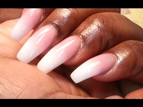 American Manicure Color Powder Ombré Coffin Nail Shape Youtube