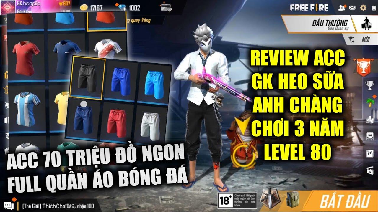 Free Fire | Review Acc GK Heo Sữa Level 80 Chơi 3 Năm Có Nguyên Tủ Quần Áo Bóng Đá | Rikaki Gaming