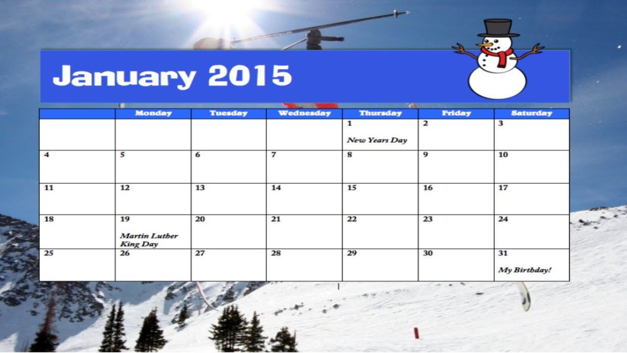 make calendar in word