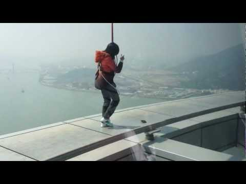 Enjoying the SkyWalk at Macau Tower