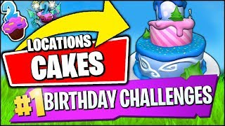 DANCE IN FRONT OF DIFFERENT BIRTHDAY CAKES *EASIEST LOCATIONS* (Fortnite Birthday Challenge Rewards)