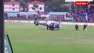 RAILA ODINGA LANDS IN THE MIDLE OF A FOOTBALL MATCH WITH 2 CHOPPERS