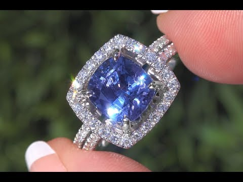 GIA Certified Violetish Blue to Purple Color Change Sapphire & Diamond Ring Platinum 5.23 TCW- C1011