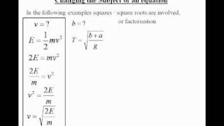 Algebra:Changing the Subject in an Equation or Formula