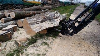 IHC mit Frontlader beim Polterholz sägen Teil1