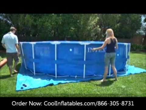 intex round metal frame pool setup instructions youtube. Black Bedroom Furniture Sets. Home Design Ideas