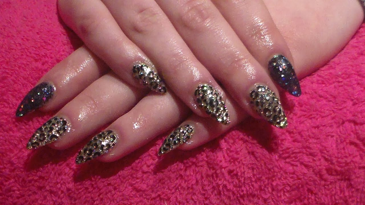 Black and Gold Glitter with leopard print Acrylic nails. Acrylic nails. How  to. Nail designs - Black And Gold Glitter With Leopard Print Acrylic Nails. Acrylic