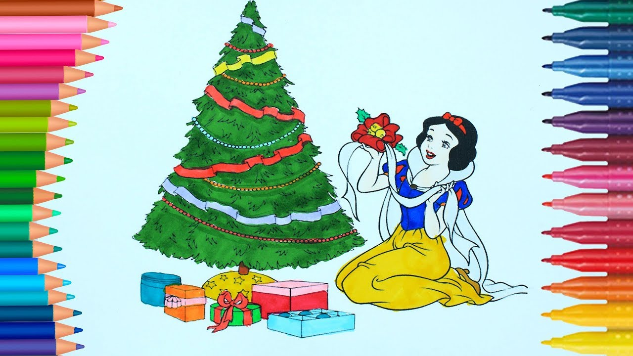 Christmas Coloring   Snow White   How to draw and color   Little ...