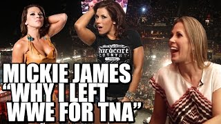 Why did Mickie James leave WWE and join TNA?