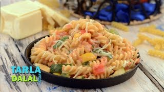 Herbed Fusilli In Pink Sauce By Tarla Dalal
