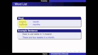 STEOHENSTONE Afrikaans - Advanced Beginner - Lesson 1 - Family - Part 1
