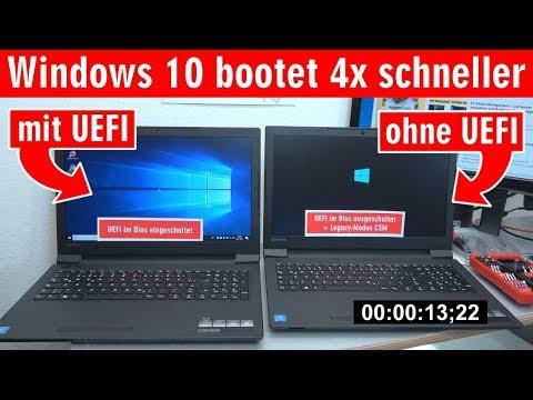 Windows 10 startet 4x schneller - mit UEFI vs. ohne UEFI (BIOS) - Booten beschleunigen - [4K]