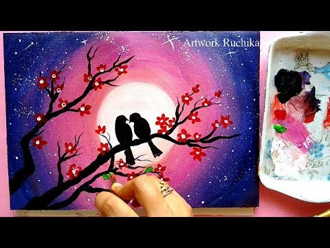 Easy Painting For Beginners | Moonlight Love Bird Painting | Acrylic Painting Tutorial