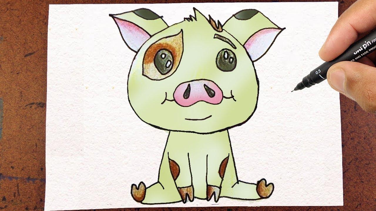 como desenhar pua porquinho do filme moana how to draw youtube