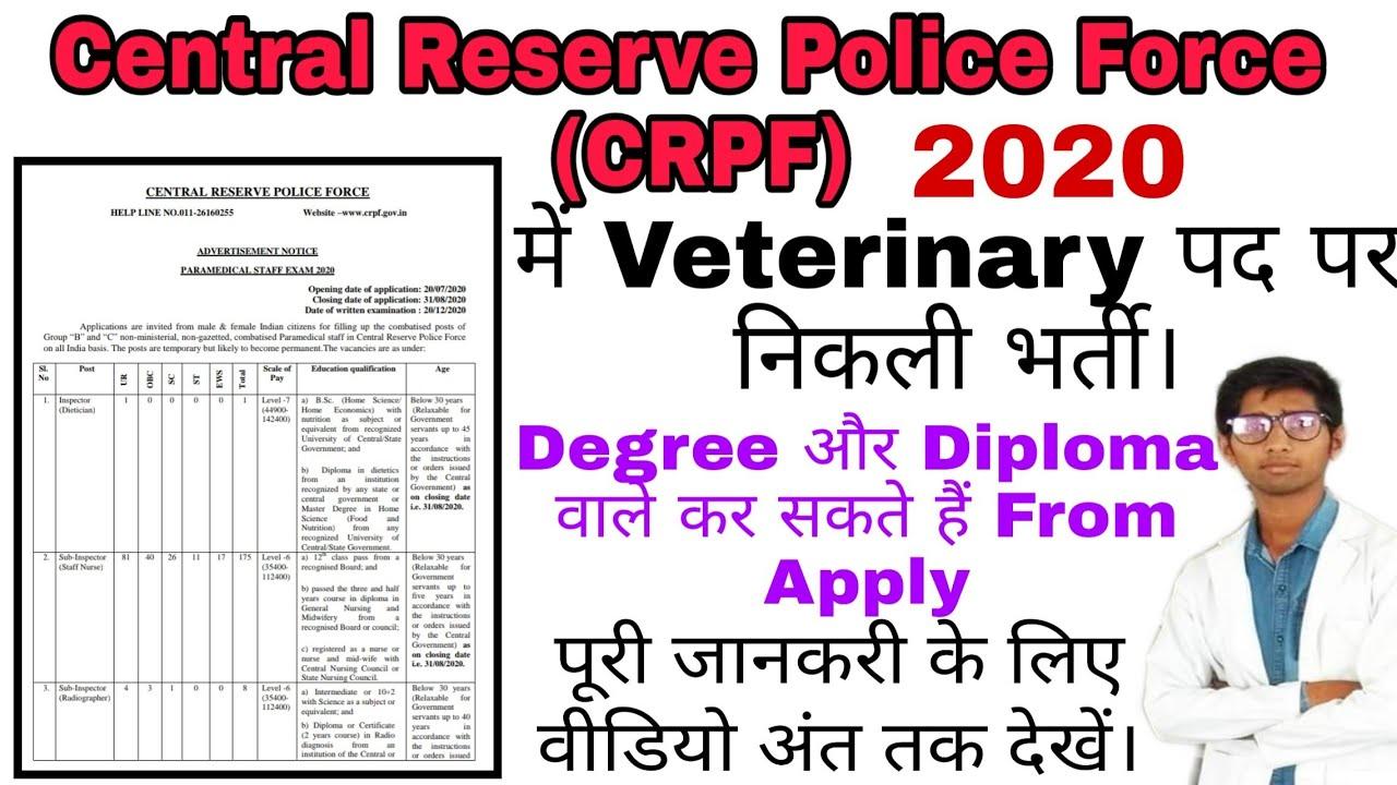 CRPF में Veterinary पद पर निकली भर्तिया, Online करें Apply, Veterinary News, Veterinary Vacancy 2020