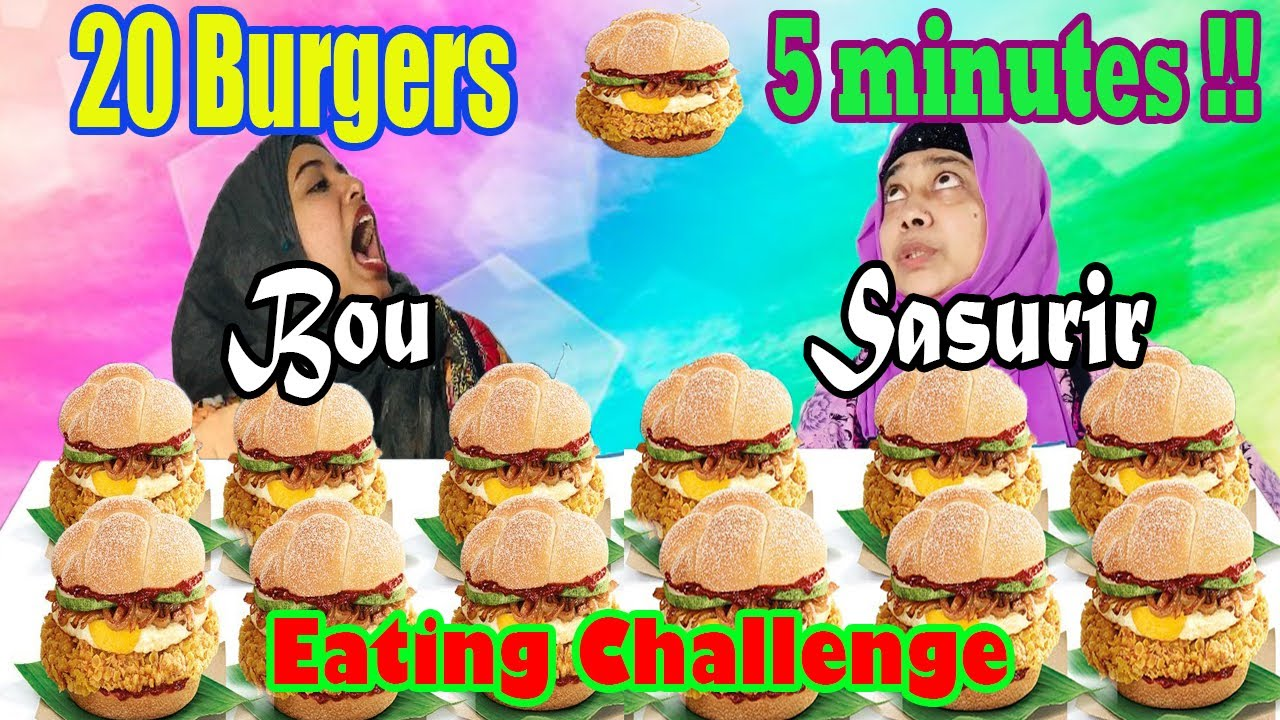 Girls Eat 20 burgers in 5 minutes|Bou vs Sasuri Burger challenge||Funny Eating Show||Undefeated||