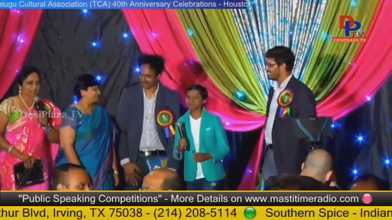 Dhoni Akruti being felicitated at Telugu Cultural Association Houston - Convention 2016