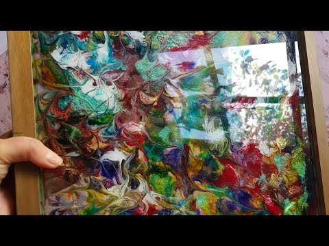 Easy Up-side-down Resin Art on framed glass for a wall light feature/demo