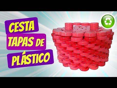 Diy cesta hecha con tapas de pl stico manualidades - Como hacer tapas faciles ...